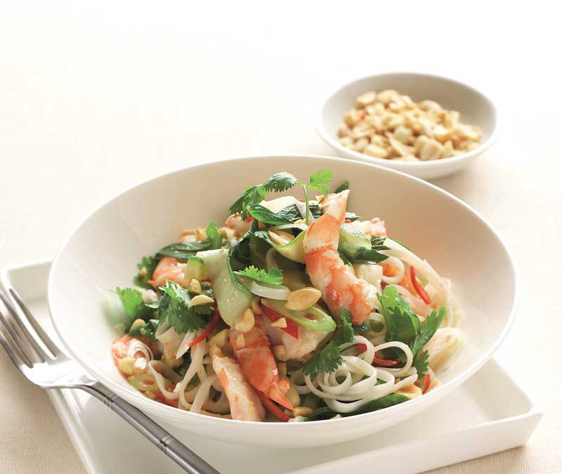 Spicy cucumber, coriander & prawn noodle salad
