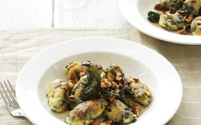 Spinach & ricotta dumplings with sage & walnut butter